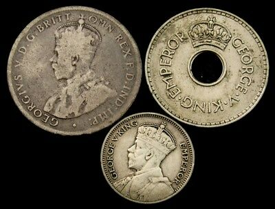 Lot of 3 British Commonwealth Coins of George V - 1918 & 1934