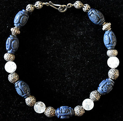 Vintage Chinese Lapis Lazuli, Crystal and Sterling Silver Beads Necklace