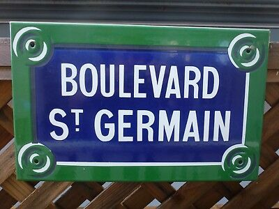 "French enamel road name plaque FRENCH STREET SIGN ""BOULEVARD ST GERMAIN  PARIS"