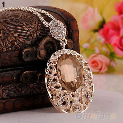 Retro Rose Gold Plated Crystal Rhinestone Sweater Chain Pendant Necklace CHIC