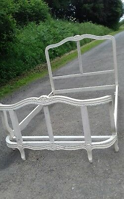 Antique/ Vintage 3/4 French Corbeille Solid Carved Wood Bed Frame To Re-Cover