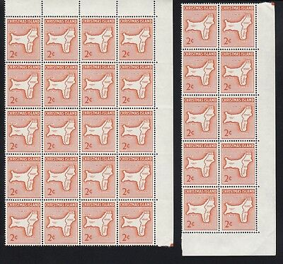 CHRISTMAS ISLAND 1963 2c MAP 30 stamps in blocks, Mint Never Hinged
