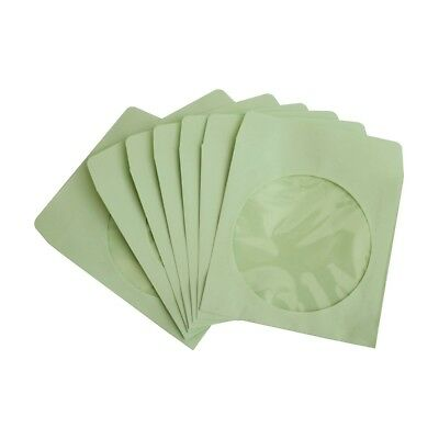 200 80g CD DVD R Disc Paper Sleeve Envelope Clear Window Flap - Green