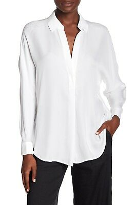 87698a2180a981 New Vince White Shirred Back Yoke Silk Long Sleeve Blouse Top Size Small