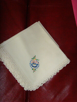Lot of 4 vintage embroidered cloth napkins with pretty teacup embroidery crochet