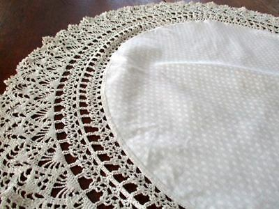"""32"""" ROUND Vintage Dotted Satin? Damask  Table Doily Crocheted 5"""" Crochet Lace"""