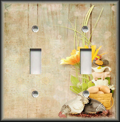 Metal Light Switch Plate Cover Farmhouse Decor Cast Iron Animals Wood Design 01