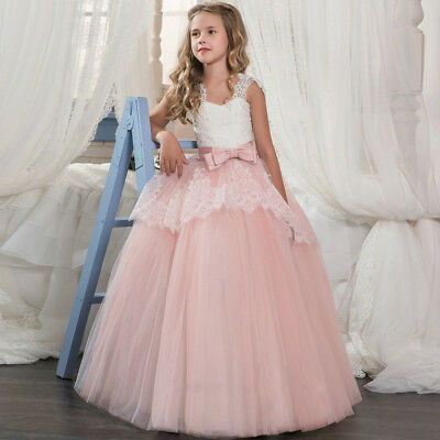 Flower Girl Dress Formal Lace Princess Party Holiday Bridesmaids Wedding Dressy