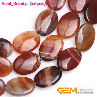 Flat Shape Red Banded Agate Gemstone Loose Beads for Jewelry Making Strand 15""