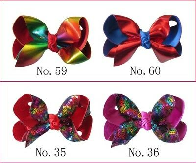 """200 BLESSING Girl 4.5"""" Spangle ABC Hair Bow Clip Flash Wholesale 68 No. Colorful"""