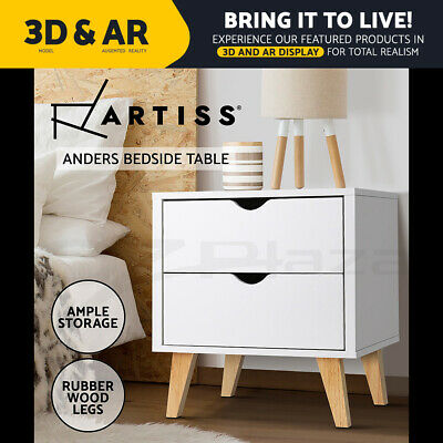 Artiss Bedside Table 2 Drawers Storage Cabinet Nightstand Lamp Chest Wood White