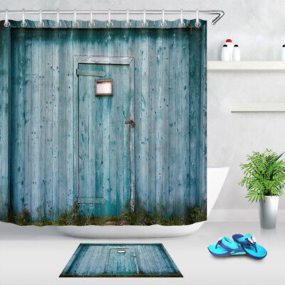 Waterproof Fabric Old Wooden Barn Door Shower Curtain Liner Bathroom Decor Hooks