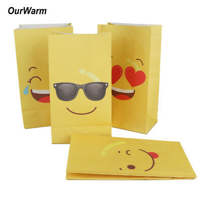 12×Emoji Paper Bags Birthday Party Gift Treat Bags DIY Candy Box Table Supply