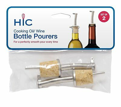 Harold Stainless Steel Wine Oil Bottle Pourer w/ Natural Cork Stoppers, 2-Count
