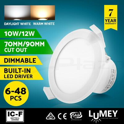 Lumey 6-48 x 10W/12W Dimmable/Non-Dim LED Downlight kit 70MM 90MM DAYLIGHT WHITE