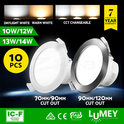 Lumey 10pcs LED Downlight Kit Dimmable Ceiling Light Daylight Warm White Satin
