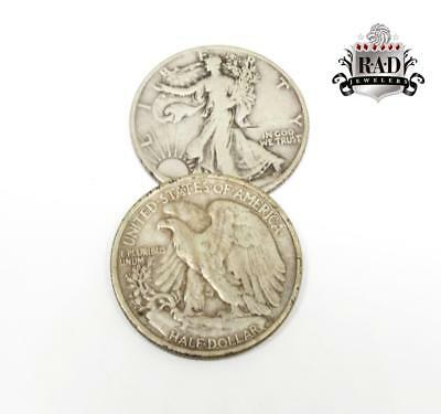 $1.00 Face Value 90% Silver Walking Liberty Half Dollar with  date Junk Coins