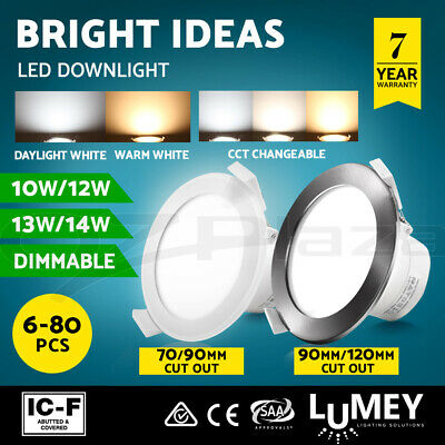 Lumey LED Downlight Kit Dimmable 70/90/120mm Daylight Warm Cool White 6-80PCS