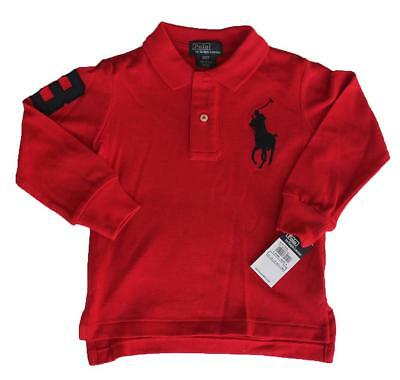 Ralph Lauren Baby Boys Cotton Big Pony Polo Long Sleeve Shirt -  Compass Red