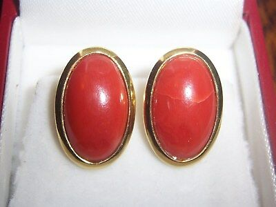 BEAUTIFUL!!! Vintage Estate 18K Yellow Gold and Coral Cabochons Earrings 7.6 GR