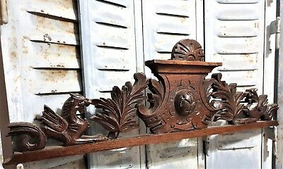 Architectural griffin scroll leaves Antique french carved wood salvaged crest