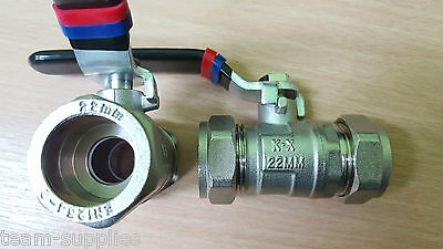 Lever Ball Valve 22Mm Red Blue Collars Black Handle Hot Cold Compression Econ