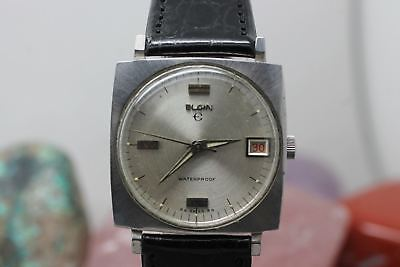 Vintage Original Elgin Hand Wind Stainless Steel Wrist Watch Running