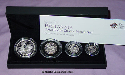2009 Royal Mint Silver Proof Britannia Four Coin Collection