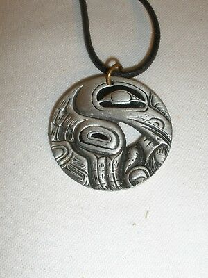 Frederick Pewter Canada Pendant Cord Necklace Raven Eagle Bird Haida #21