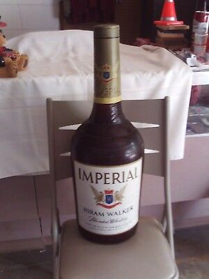 """Vintage Hirman Walker  Imperial  Whiskey Inflatable Blow Up Bottle 29"""" Tall"""