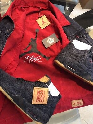 d61bec1c9b92 Nike Air Jordan 4 Levi Black Denim 12.5 Reversible Jacket Promo PE Sample IV