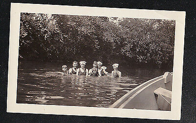 Antique Photograph Group of People Standing in Water - Old Time Bathing Caps