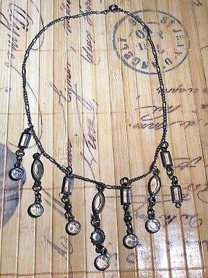 Hanging Drop Vintage Ladies Necklace Antique Victorian Style Glass Beads Womens