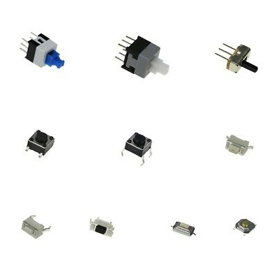 100 pcs 10 Kinds of tactile switches, push button latch, SMD, slide switch kit