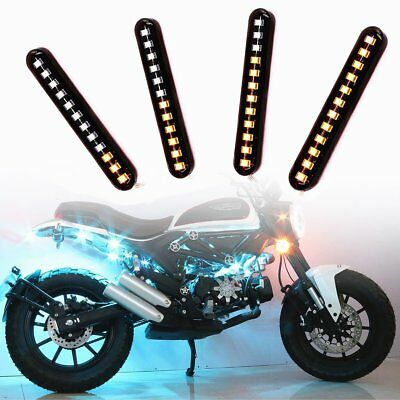 2x Sequential Flowing 12 LED Mini Strips Motorcycle Car Led Turn Signal Lights