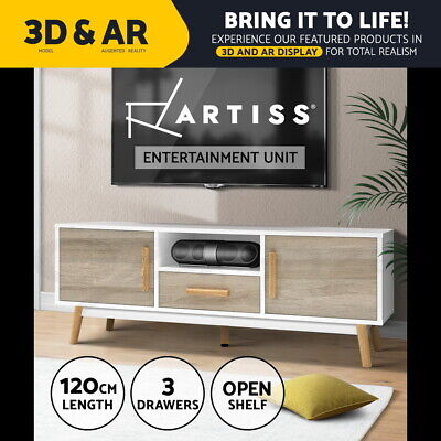 Artiss TV Stand Entertainment Unit Cabinet Storage Drawers white wooden 120cm