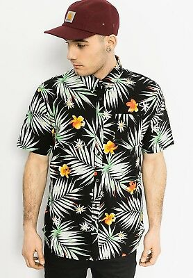 98bca612ae Men s Vans Off the Wall Daintree Black Button Hawaiian Shirt size S NWT