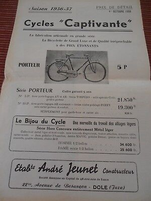 Catalogue / Pub Velo Cycle Vintage Captivante 1956   ( 29 )