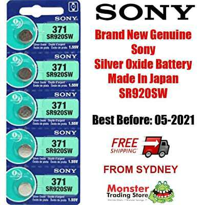 5 Pcs Sony Sr920Sw 371 1.55V Silver Oxide Battery Made In Japan Use By: 01/2021
