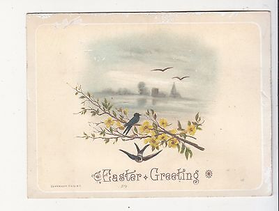 Easter Greeting Bird on a Branch Yellow Flowers Vict Card c 1880s