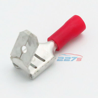 100x Insulated Red Spade Piggyback Crimp Terminals- Electrical Feed or Splice