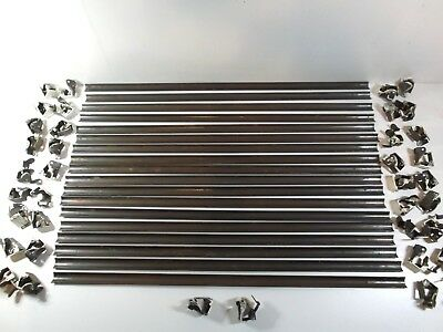 Vintage set of 18 stair rods with clips, carpet rods, copperised metal strips