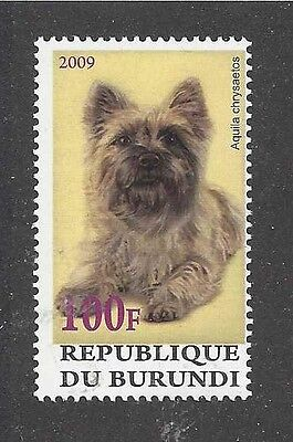 Dog Art Photo Postage Stamp CAIRN TERRIER 2009 Burundi Full Body Study MNH