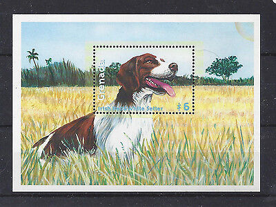 Rare Dog Postage Stamp Souvenir Sheet IRISH RED AND & WHITE SETTER Grenada MNH