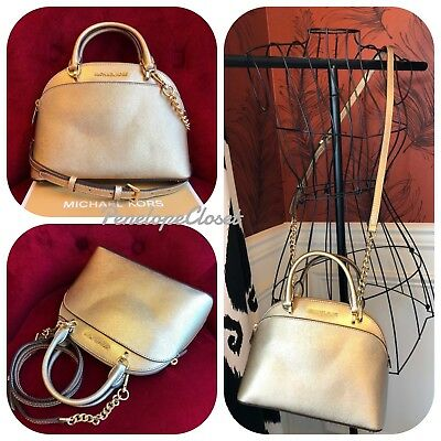 589c0b5afcd7e7 Nwt Michael Kors Leather Emmy Small Dome Satchel Bag In Pale Gold (Sale!