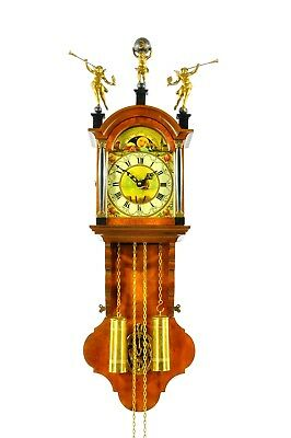 Gorgeous Vintage Warmink Weight Driven Wall Clock Moonphase Double Bell