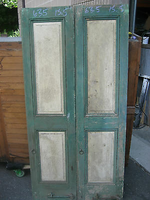 "PaiR c1840-50 PANELED house shutters forged hardware GREAT patina 63.5"" x 15.5"""