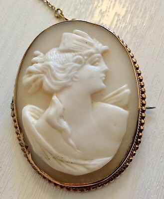 Nice Very Old Antique 9 Carat Rosey Gold Large Cameo Brooch 9CT Rose