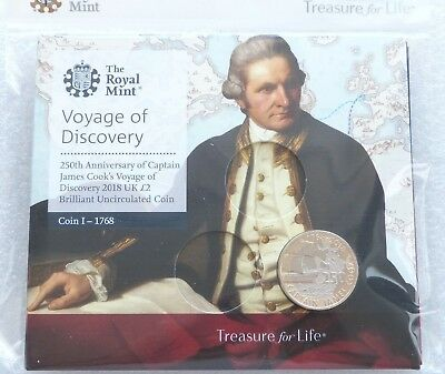 2018 Royal Mint Captain James Cook £2 Two Pound Coin Pack Sealed Uncirculated