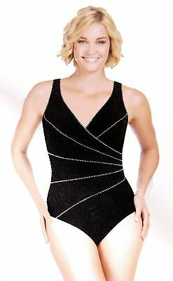 e71e69a18d Miraclesuit Kirkland Womens One-Piece Horizon Piped Black Slimming Swimsuit  14